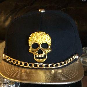 Gold bling flat bill SnapBack hat. New